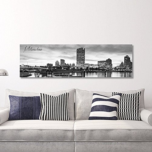 - WallsThatSpeak Panoramic Milwaukee Cityscape Picture, Black and White Stretched Canvas Art Prints, Wall Decoration for Bedroom or Office, Framed and Ready to Hang, 14