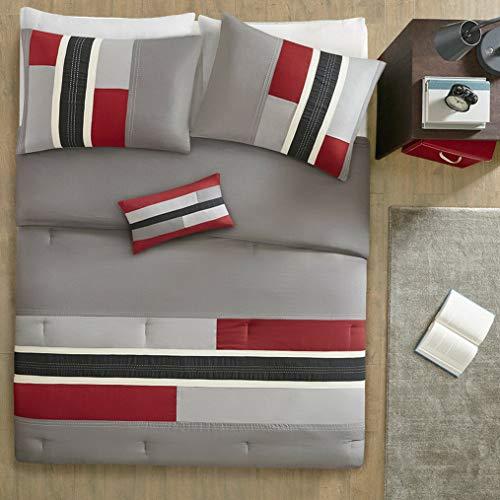 Kaputar Modern Cozy RED Grey Black Stripe Sporty Boys Soft Comforter Set Pillow   Model CMFRTRSTS - 1562   - Rug Floral Catalina