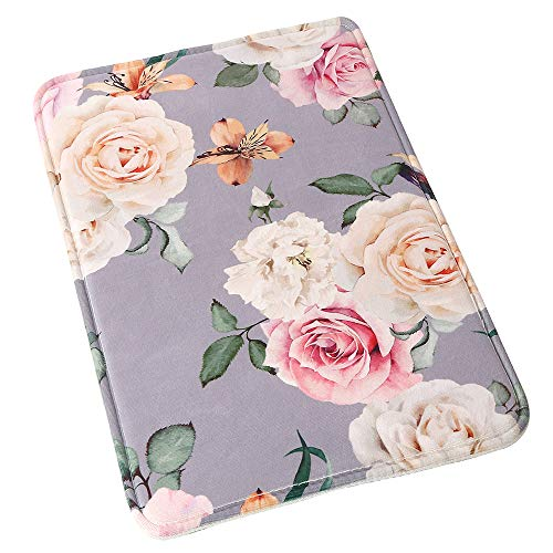 Uphome Floral Rose Bathroom Rug, Non Slip Coral Velvet Foam Bath Mat with Flower in Grey Design Soft Absorbent Shower Mat Kitchen Rug, 20x32
