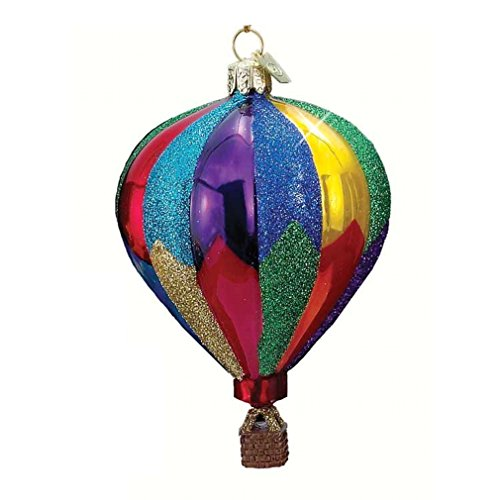 Noble Gems HOT AIR BALLOON ORNMAENT Glass Float Ride Basket Nb0344 Red