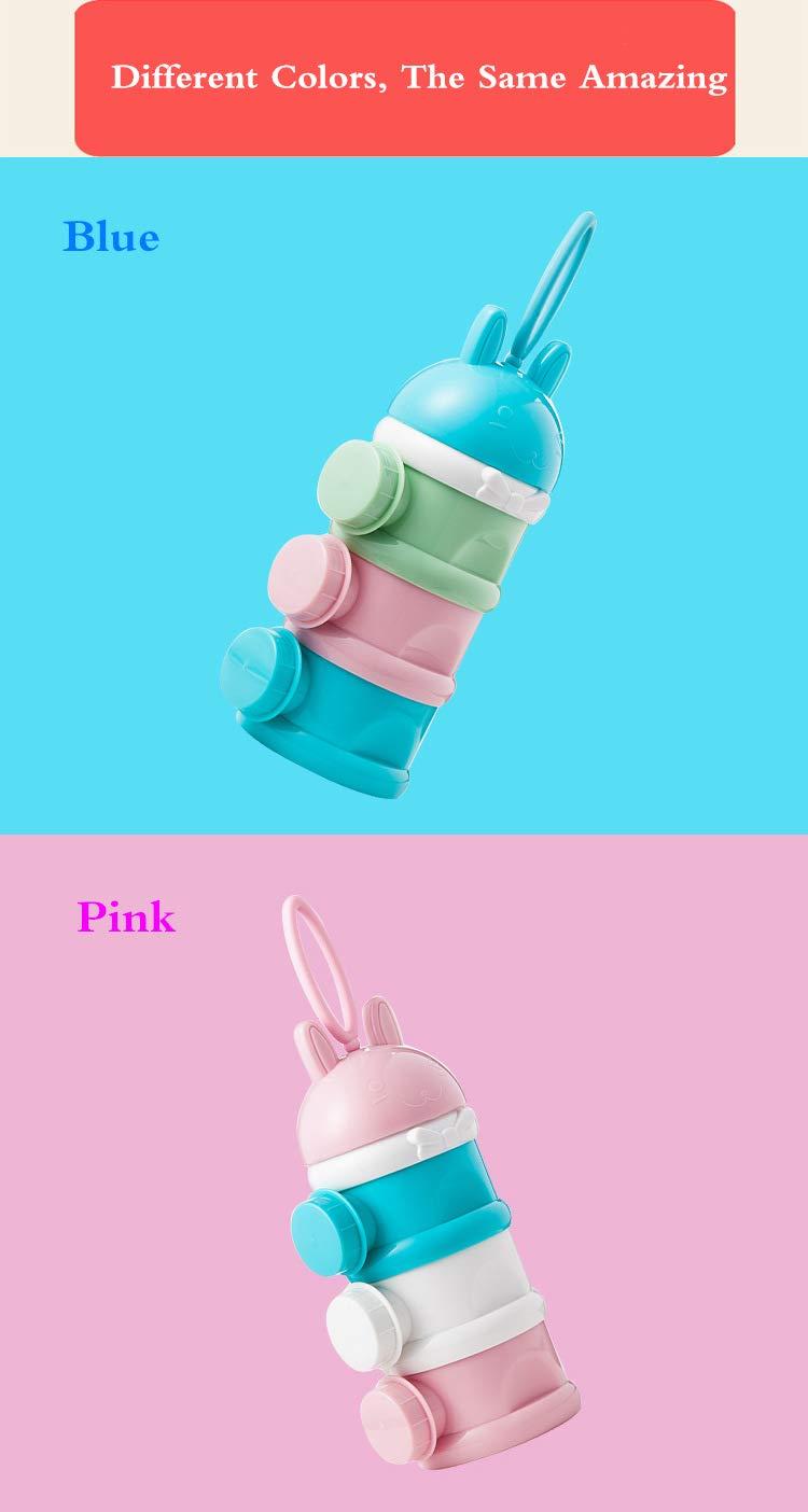 BPA-freien Luftdichte Lebensmittelvorratsbeh/älter f/ür Reise im Freien Pink #011 Tragbar Kinder Milchpulver Portionierer Box Kann 3-Schicht MUUZONING Stapelbare Milchpulver Spender