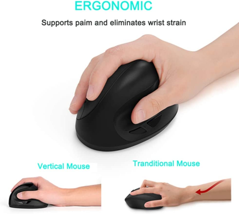 BINGFEI Ergonomic Vertical Mouse Wireless Rechargeable Optical Computer Gaming Mice Gamer 1600DPI Mause with Mouse Pad for Laptop,Black