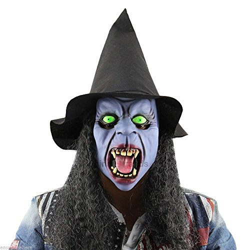 MAZIMARK--Horror Night Witch Tusks Latex Mask with Hat Wig for Masquerade Halloween Party