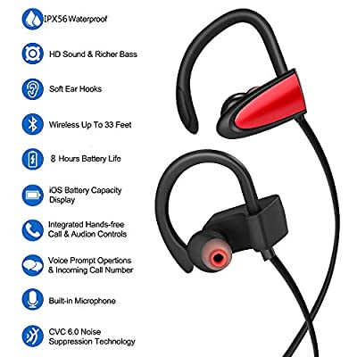 Wireless Headphones Waterproof Bluetooth Earbuds with Mic, V4.2 Noise Cancelling in Ear Earphones, Running Bluetooth Headphones HiFi Stereo, Richer Bass, Carrying Bag, 8 Hours Playing Time