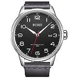 BUREI Mens Watch Classic Date Quartz Wristwatch Big Arabic Numerals with Soft Leather Strap (Grey)