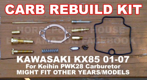 Carb Carburetor Rebuild Kit with Gasket Main Pilot Slow Jet Needle Idle Air Screw Spring and more for Keihin PWK28 28mm MX Carb fits Kawasaki KX85 01 - 07 and Possibly Other Brands and Models with Similar Carb (Jet Gasket)