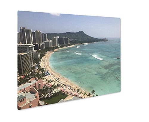 Ashley Giclee Metal Panel Print, An Aerial View Of Waikiki Beach In Honolulu Photo Taken March 11 2017, Wall Art Decor, Floating Frame, Ready to Hang 16x20, - Frames Picture Honolulu