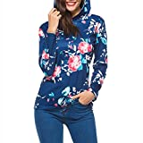 Shybuy Women's Floral Printed Casual Long Sleeve Hoodie Pullover Sweatshirts Hooded Tops Blouse (Dark Blue, XL)