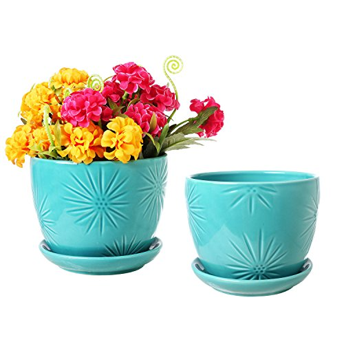 Aqua Sunburst Design Ceramic Flower Planter Pots, Decorative Plant Containers with Saucers, Set of 2