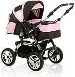 15 teiliges Qualitäts-Kinderwagenset 2 in 1 CITY DRIVER: Kinderwagen + Buggy - all inclusive Paket in Farbe BRAUN-ROSA-CREME