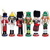"Anlydia 6pcs Wooden Nutcracker Ornament Set Handpainted Assorted Set 5"" Tall Christmas Home Ornament Set"