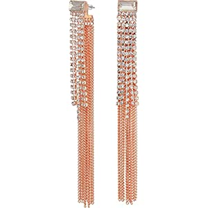 Guess Love Struck Women's Front Back Drop Earrings W Stones, Rose Gold, One Size