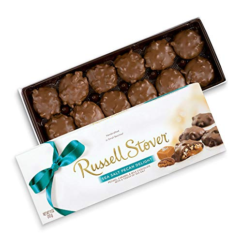Sugar Pecan Free Candy - Russell Stover Sea Salt Milk Chocolate Pecan Delight Gift Box, 11 Ounce