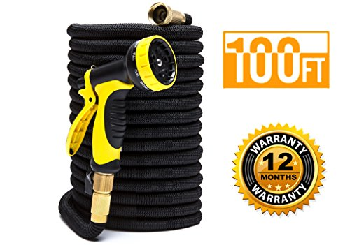ExpaHose 100ft Expandable Garden Hose with 9-Pattern Sprayer Nozzle | Gardening and Outdoor Lawn Care Tools | Lightweight, Flexible, Kink-Free | 3/4 Brass Fittings | Leakproof Latex Core | Warranty by ExpaHose