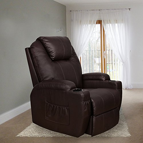 MAGIC UNION Power Lift Heated Vibrating Electric Massage Recliner Chair with Remote- Brown (Leather Recliner Electric)