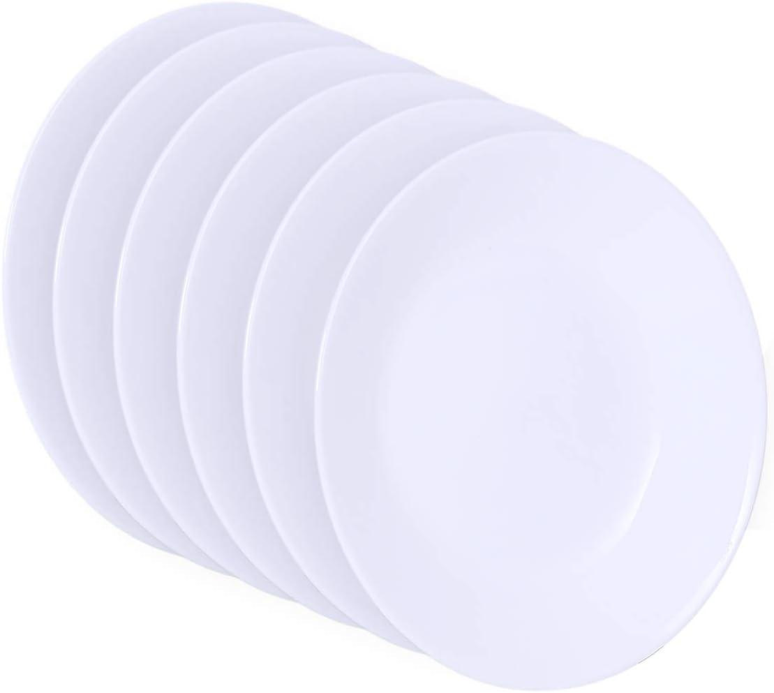 Corelle, White, Livingware Luncheon Plate, 8-1/2-Inch, Set of 6, 8-1/2