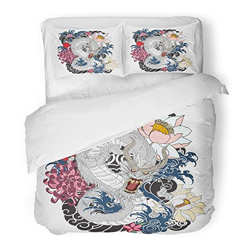 Emvency Decor Duvet Cover Set King Size Red Black Dragon Tattoo Design Coloring Book Japanese Style Japan Peony Abstract 3 Piece Brushed Microfiber Fabric Print Bedding Set Cover