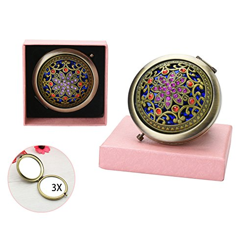 VintageBee Vintage Makeup Mirror Folding Pocket Mirror Round Compact Mirror Double-sided Hand Mirrors Mothers Day gift (C)