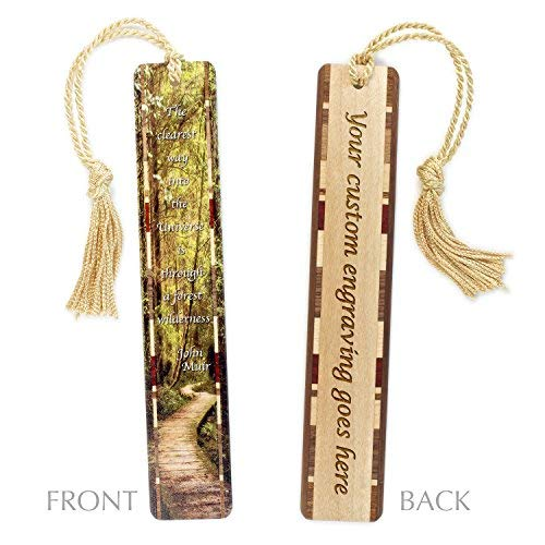 Personalized Woodlands Path with John Muir Quote - Evergreens with Path Color Wooden Bookmark with Tassel - Search B01EM7QPDM to See Non Personalized Version.