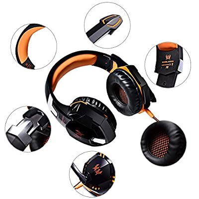 [Upgraded Version] Professional Surround Gaming Headset with Microphone LED, Stereo Noise Cancelling Headphones, Wired Comfortable Game Headsets for PC Computer Laptop Tablet Cell Phone Compatible