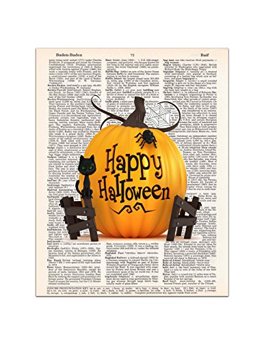Happy Halloween - Pumpkin, Cat, Spider - Dictionary Page Art Print, 8x11 UNFRAMED
