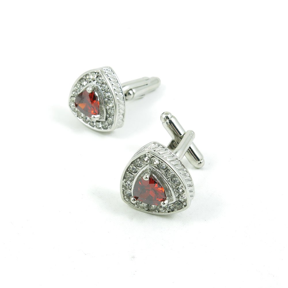 50 Pairs Cufflinks Cuff Links Fashion Mens Boys Jewelry Wedding Party Favors Gift 923KW0 Red Heart Rhinestone by Fulllove Jewelry