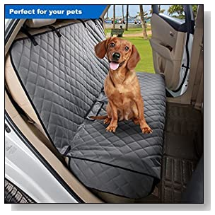 VIEWPETS Bench Car Seat Cover Protector - Waterproof, Heavy-Duty and Nonslip Pet Car Seat Cover for Dogs with Universal Size Fits for Cars, Trucks & SUVs(Grey)