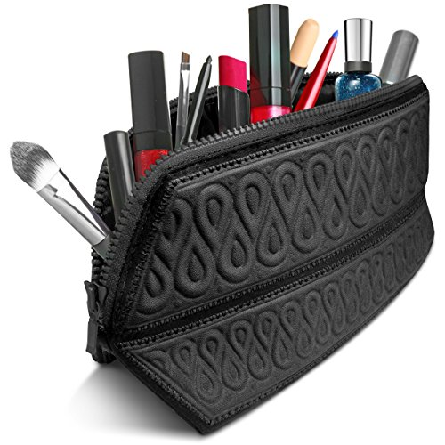 Makeup Bag Cosmetic Case Travel Purse Organizer Toiletries Holder Fits Longest Makeup Brushes, Water-repellent Premium Quality Super Soft Easy to Fold Portable Design Origami Style By MetricUSA-Black