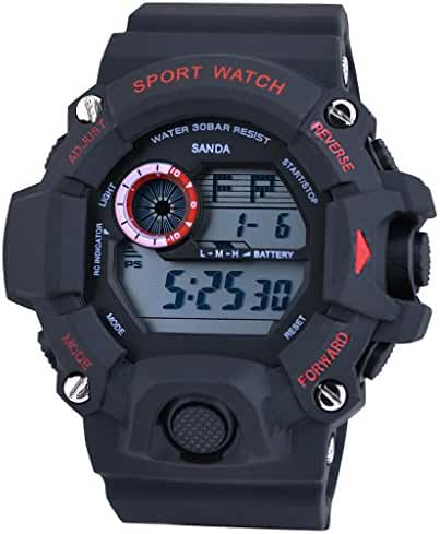 Cool Summer LED Digital Electronic Outdoor Waterproof Wrist Sport Watch rubber For Boys Black+Red