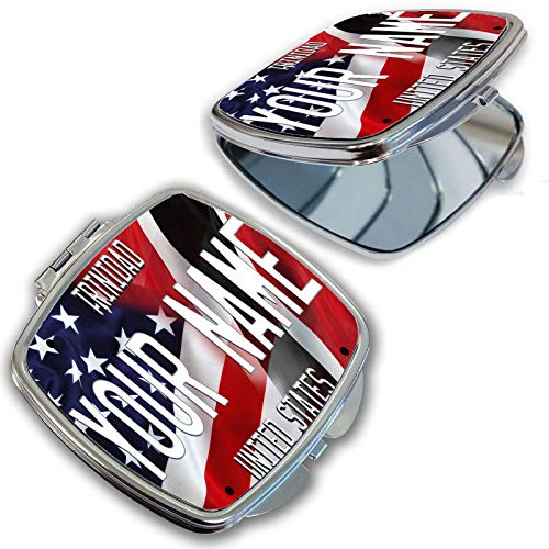 (BRGiftShop Personalize Your Own Mixed USA and Trinidad and Tobago Flag Compact Pocket Cosmetic Mirror)