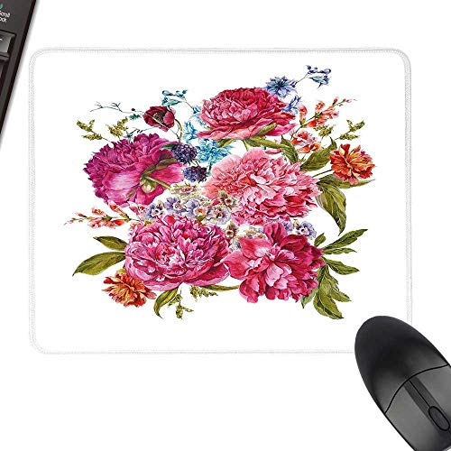 Shabby Chic Decor Thicken Mouse Pad Gentle Summer Flora Hyacinths BlackBerry and Peonies Victorian Vegetation Laptop Desk Mat, Waterproof Desk Writing Pad 11.8