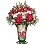 Holiday Everlasting Floral Centerpiece with Lights and Stained Glass Look Vase by The Bradford Exchange