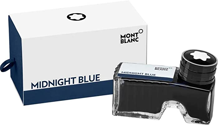 Montblanc Ink Bottle Midnight Blue 109204 – Premium-Quality Refill Ink in Blue-Black for Fountain Pens, Quills, and Calligraphy Pens – 60ml Inkwell