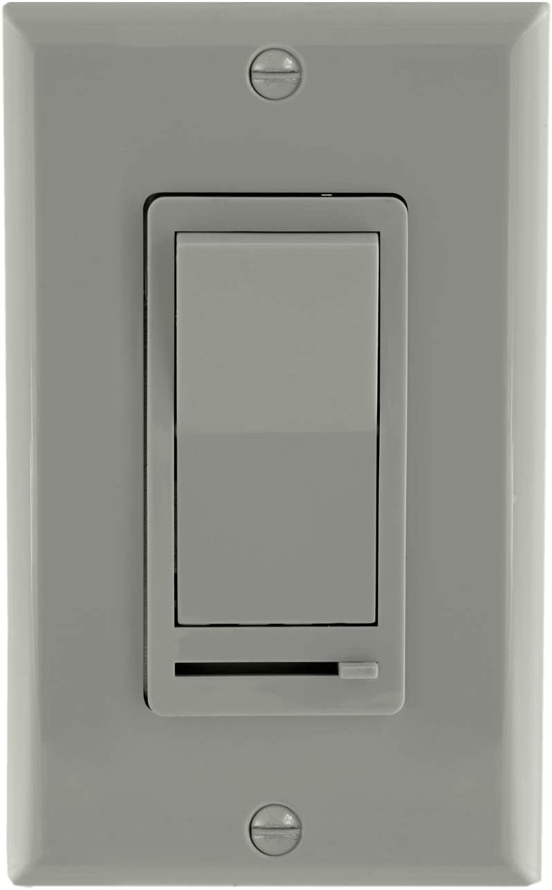 Maxxima 3-Way/Single Pole Decorative LED Slide Dimmer Rocker Switch Electrical light Switch 600 Watt max, LED Compatible, Wall Plate Included (2 Pack) - -