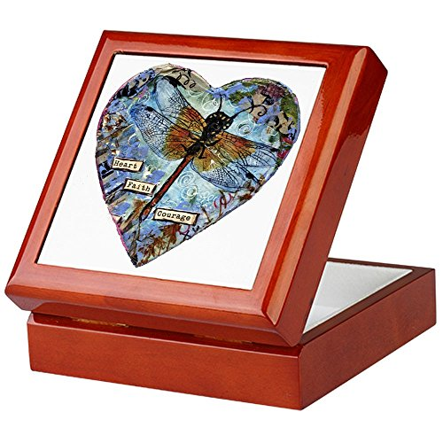 CafePress - Heart Faith Courage - Keepsake Box, Finished Hardwood Jewelry Box, Velvet Lined Memento Box