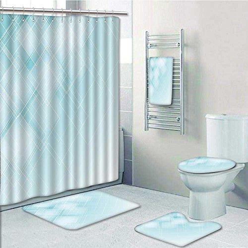 Cheap 5 Piece Bathroom Set Includes Shower Curtain LinerAqua Tranrent Rhombus Rectangular