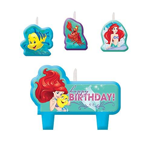 (Disney Little Mermaid Birthday Candles , Set of 4 )