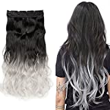 S-noilite Ombre 23/25 inches Clip in Hair Extensions One Piece Curly Wave Straight