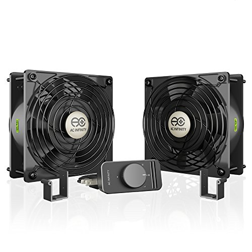 AC Infinity AXIAL S1238D, Dual 120mm Muffin Fan with Speed Controller, for Doorway, Room to Room, Wood Stove, Fireplace, Circulation (Cooling Fan Guard)