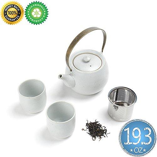 Japanse Porcelain Tea-Pot-Set For 2 with Infuser,Gift Box,TEANAGOO-Mimas(RU),Large Pot(19 oz) Filter Steeper Diffuser, Steeping 2 cup(5.8oz),Ceramic China Asian Japan Koren Adult Oolong Matte White