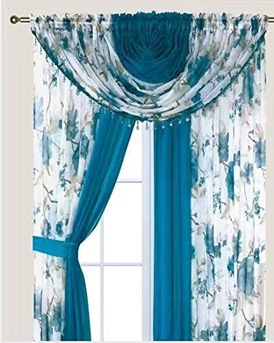YHSF Laura Collection Complete Window Sheer Voile Curtain Panel Set with 4 Attached Panels 55 x 84 Valances with Beads and 2 Tiebacks – Easy Installation – Multicolor Turquoise Blossom