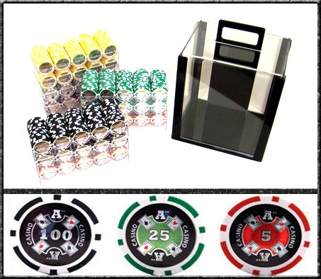 1000 Ct Ace Casino Acrylic Poker Chip Set with 10 Clear Chip Trays by Brybelly