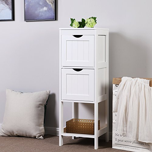 SONGMICS Bathroom Floor Storage Cabinet 3-tier Multifunctional Storage Shelf Organizer Rack Stand with 2 Drawers White UBBC42WT