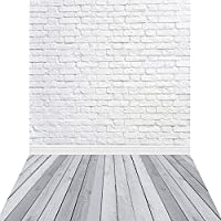 KonPon 5x10ft Silk Cloth White Brick Wall Photography Backdrop For Newborns Props KP-013