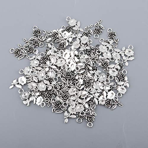 100PCS Rose Pendant Set Antique Style Design Jewelry Finding DIY Accessories Necklace Jewelry Crafting Key Chain Bracelet Pendants Accessories Best| Color - Silver