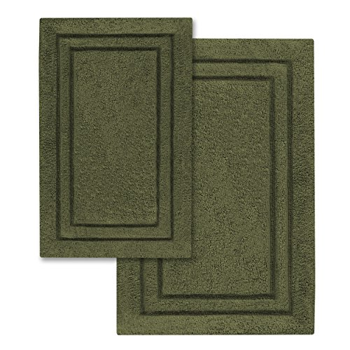 Superior 2-Pack Bath Rugs, Premium 100% Combed Cotton with Non-Slip Backing, Soft, Plush, Fast Drying and Absorbent - Forest Green, 20