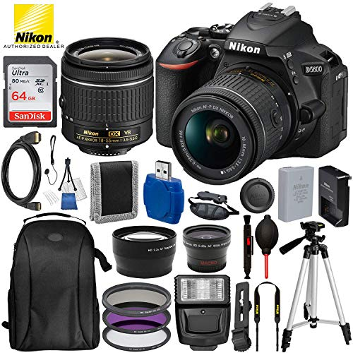 Nikon D5600 DSLR Camera with 18-55mm Lens and 15PC Accessory Bundle – Includes SanDisk Ultra 64GB SDHC Memory Card + Digital Slave Flash + 3PC Filter Kit + 50″ Tripod + Professional Backpack and More