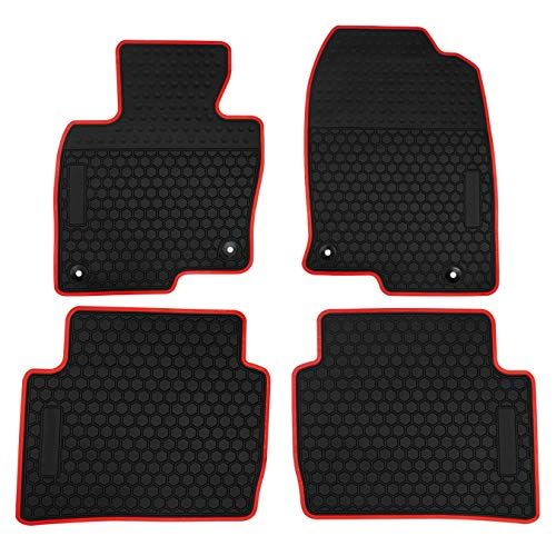 biosp Car Floor Mats for Mazda CX-5 CX5 2017 2018 2019 Front And Rear Seat Heavy Duty Rubber  Liner Black Red Vehicle Carpet Custom Fit-All Weather Guard Odorless - Cargo Mat Red