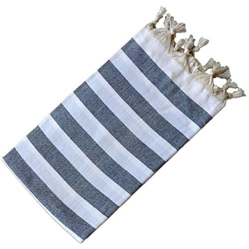 (Dandelion - Stripes Pattern - Naturally-Dyed Cotton Turkish Towel Peshtemal - 71x39 Inches - White & Dark Blue)