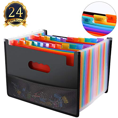 Hot File (24 Pocket Expanding File Folder with Mesh Bag, Hot Pressing Forming Document Organizer with Cloth Edge Wrap, Multi-Color Accordion A4 Size with Expanding Wallet Stand for Business/Office/Study/Home)